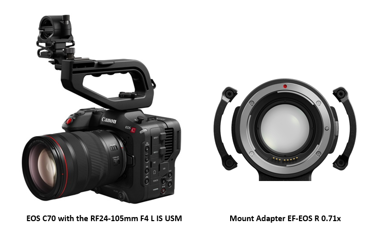 Canon announces EOS C70, the first Cinema EOS camera equipped with an RF mount & Mount Adapter EF-EOS R 0.71x