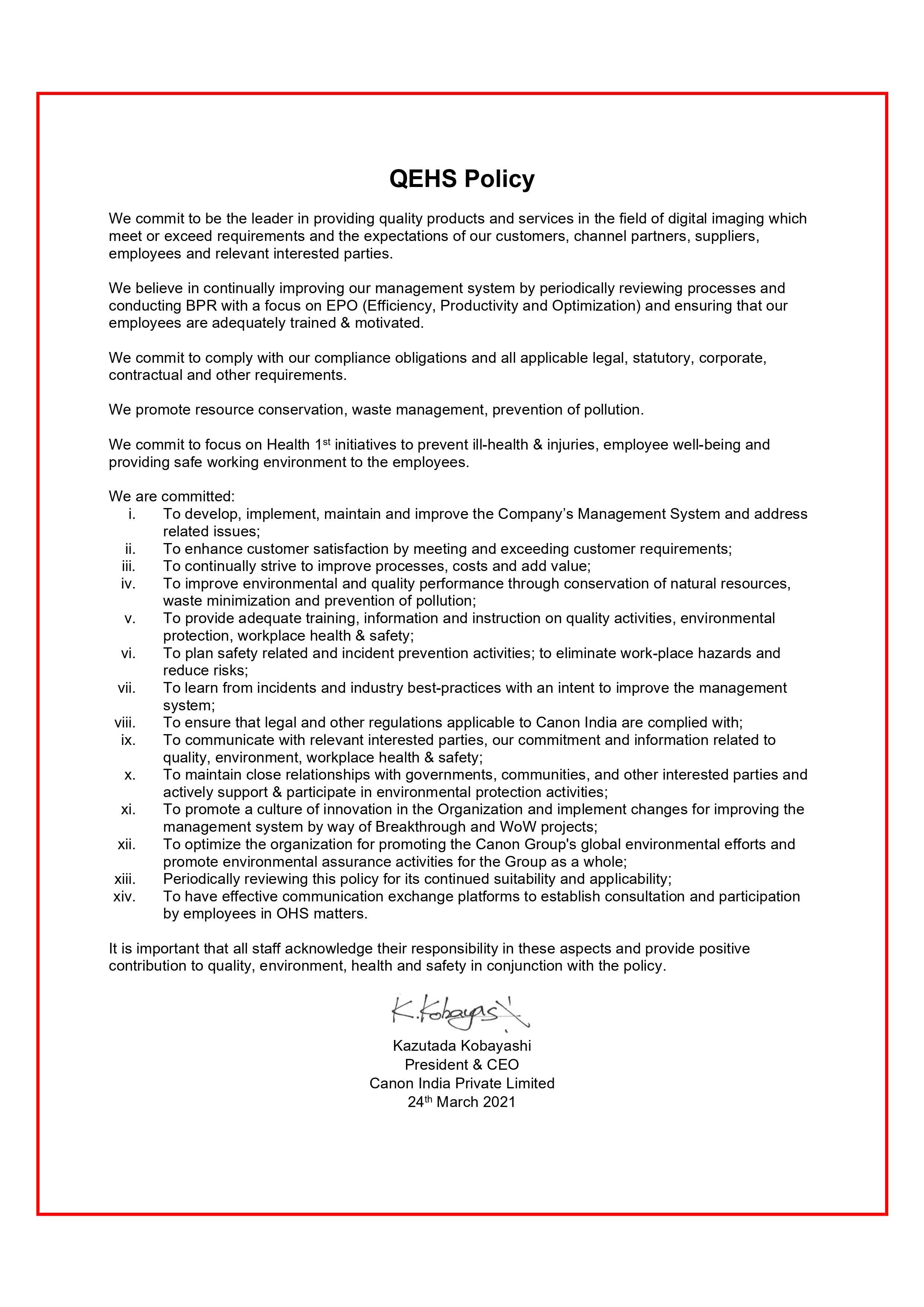 QEHS Policy_QEHS-PO-001- 2021